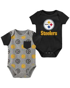 Pittsburgh Steelers Newborn Boys' Little Kicker 2 Pack Creeper Set
