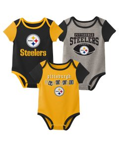 Pittsburgh Steelers Baby Kickoff 3 Pack Short Sleeve Creeper Set