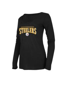Pittsburgh Steelers Women's Exclusive Marathon Long Sleeve Black Sleep Top