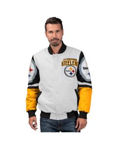 Pittsburgh Steelers Men's Strongside Sublimated Varsity White Mediumweight Jacket