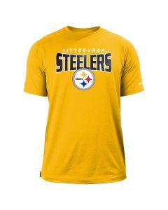 Pittsburgh Steelers Men's New Era Heathered Performance Short Sleeve Gold T-Shirt