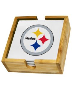 Pittsburgh Steelers Square Coaster Set with Wood Caddy
