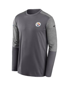 Pittsburgh Steelers Men's Nike Long Sleeve Coach Grey T-Shirt