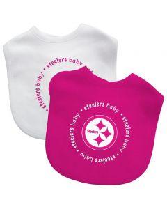 Pittsburgh Steelers Pink & White Baby Bibs - 2 pack