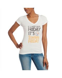 Pittsburgh Steelers Women's '47 Not Just Friday White Shortsleeve T-Shirt