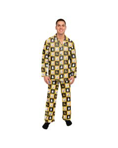 Pittsburgh Steelers Men's Patches Button Up Pajama Set