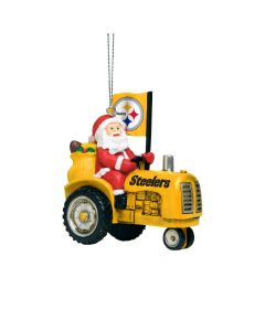 Pittsburgh Steelers Santa Riding Tractor Ornament