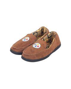 Pittsburgh Steelers Logo Brown Moccasin Slipper