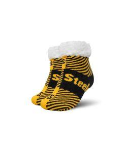 Pittsburgh Steelers Flannel Stripe Slipper Socks