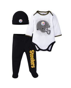 Pittsburgh Steelers Newborn Boys' Bodysuit, Footed Pant, and Cap Set