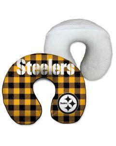Pittsburgh Steelers Buffalo Plaid Travel Neck Pillow
