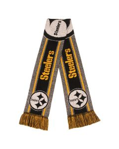 Pittsburgh Steelers Gray Stripe Logo Knit Scarf