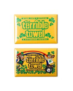 Pittsburgh Steelers Leprechaun & Shamrocks Terrible Towel 2PC Magnets