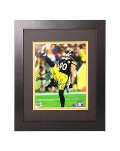 Pittsburgh Steelers #90 T.J. Watt Signed Framed Kick 8x10 Photo