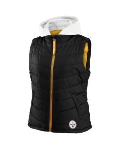 Pittsburgh Steelers Women's Detachable Hood Puffer Vest