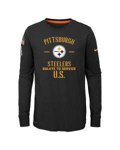 Pittsburgh Steelers Boys' Nike Salute to Service Long Sleeve Black T-Shirt
