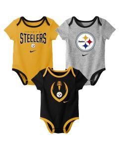 Pittsburgh Steelers Newborn Boys' 3 Pack Short Sleeve Nowstalgic Icon Creeper Set