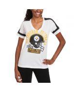 Pittsburgh Steelers Women's New Era White Tri-blend Helmet T-Shirt