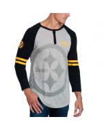 Pittsburgh Steelers 3/4 Sleeve Raglan Henley T-Shirt with Contrast Sleeves