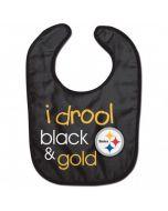 Pittsburgh Steelers Baby Bib - I Drool Black & Gold