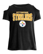 Pittsburgh Steelers Girl's Exclusive Cold Shoulder Short Sleeve Tee