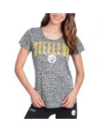 Pittsburgh Steelers Women's New Era Ribbed Burn Out Short Sleeve Tee