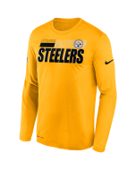 Pittsburgh Steelers Men's Nike Long Sleeve Playbook Sideline Gold T-Shirt