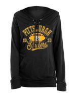 Pittsburgh Steelers Women's New Era Lace Up Hoodie Long Sleeve T-Shirt