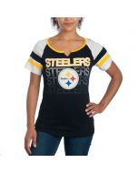 Pittsburgh Steelers Women's Notch Neck Sleeve Stripe T-Shirt