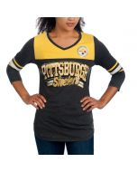 Pittsburgh Steelers Women's Burn Out 3/4 Sleeve T-Shirt