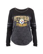 Pittsburgh Steelers Women's New Era Blocked Space Dye Long Sleeve T-Shirt