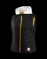 Pittsburgh Steelers Women's Detachable Hood Puffer Vest