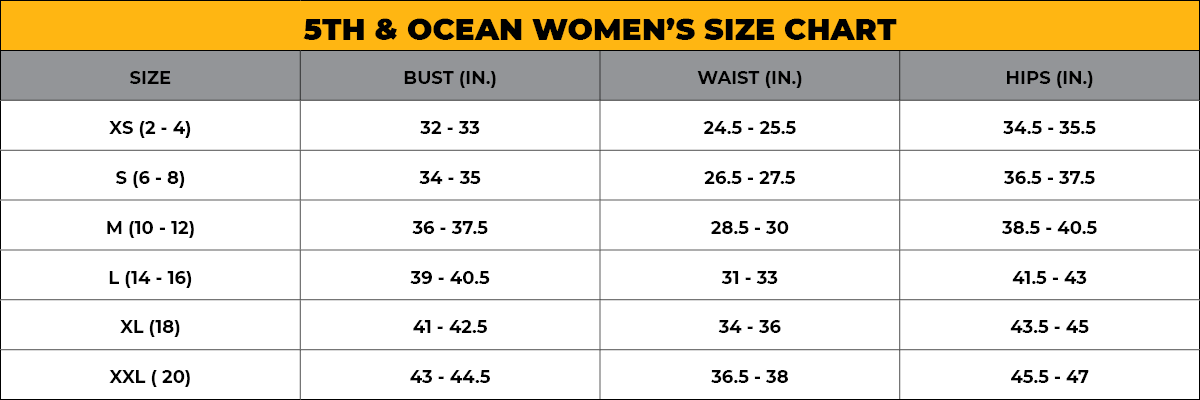 5TH & OCEAN Women's Size Chart