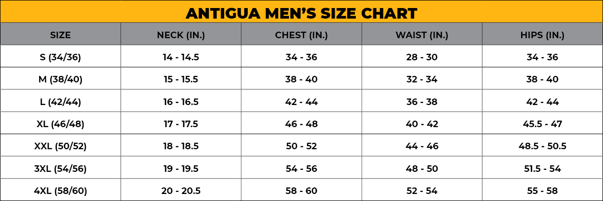 ANTIGUA Men's Size Chart
