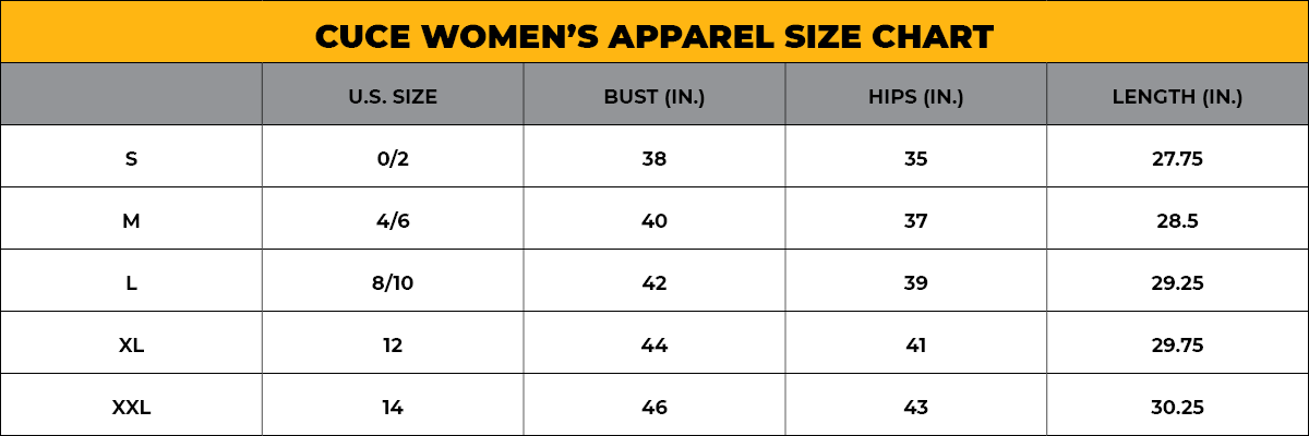CUCE Women's Size Chart - Apparel