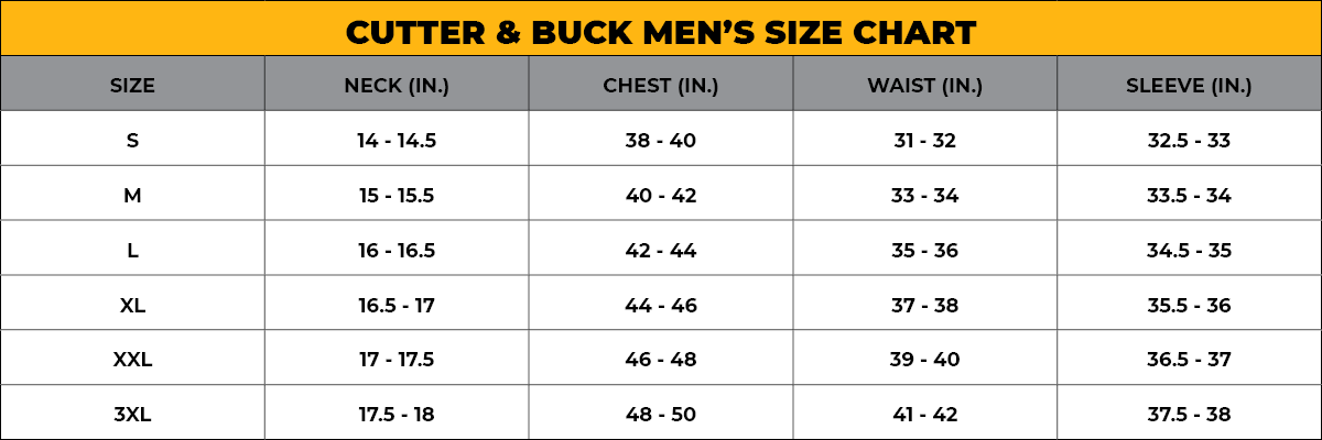CUTTER & BUCK Men's Size Chart