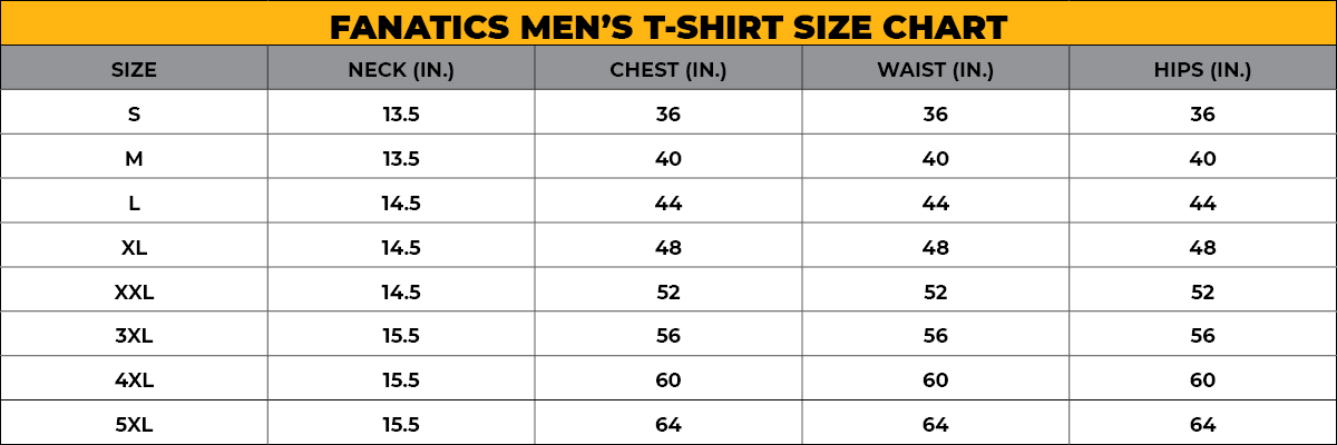 FANATICS MEN'S SIZE CHART
