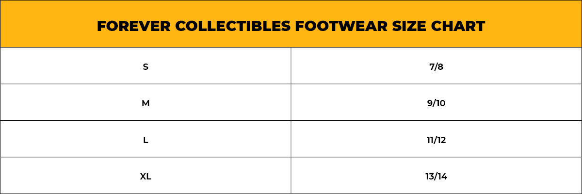 Forever Collectibles Footwear Size Chart