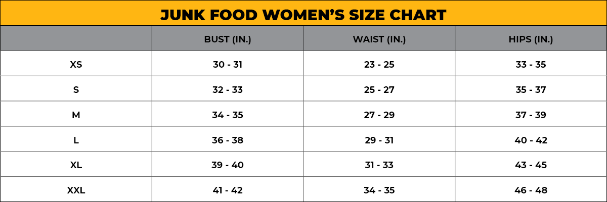 JUNK FOOD Women's Size Chart
