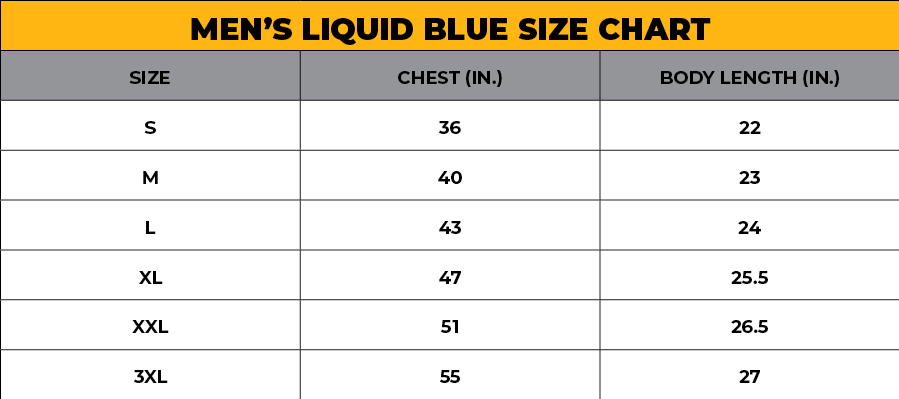 LIQUID BLUE MEN'S SIZE CHART
