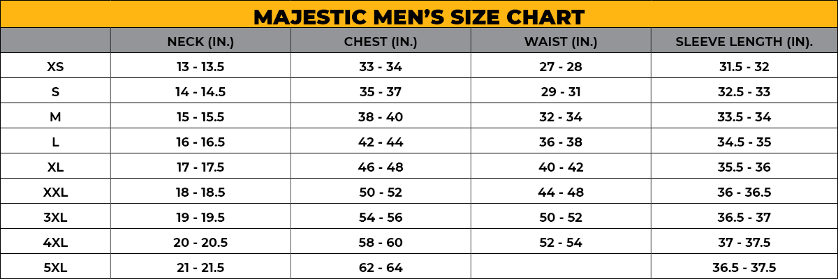 MAJESTIC MEN'S SIZE CHART