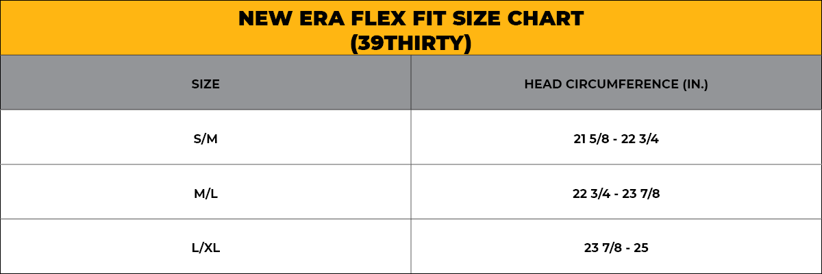 NEW ERA FLEX FIT SIZE CHART - 39THIRTY