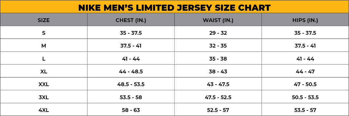 NIKE MEN'S LIMITED JERSEY SIZE CHART - NEW FIT