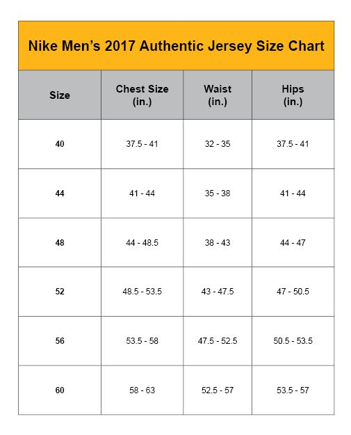 Nike Men's Authentic Jersey Size Chart