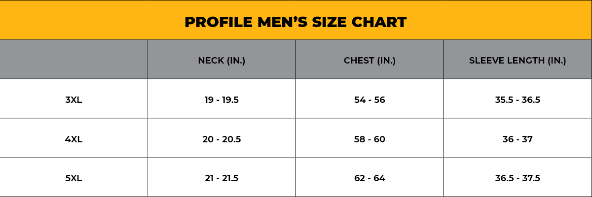 PROFILE Men's Size Chart