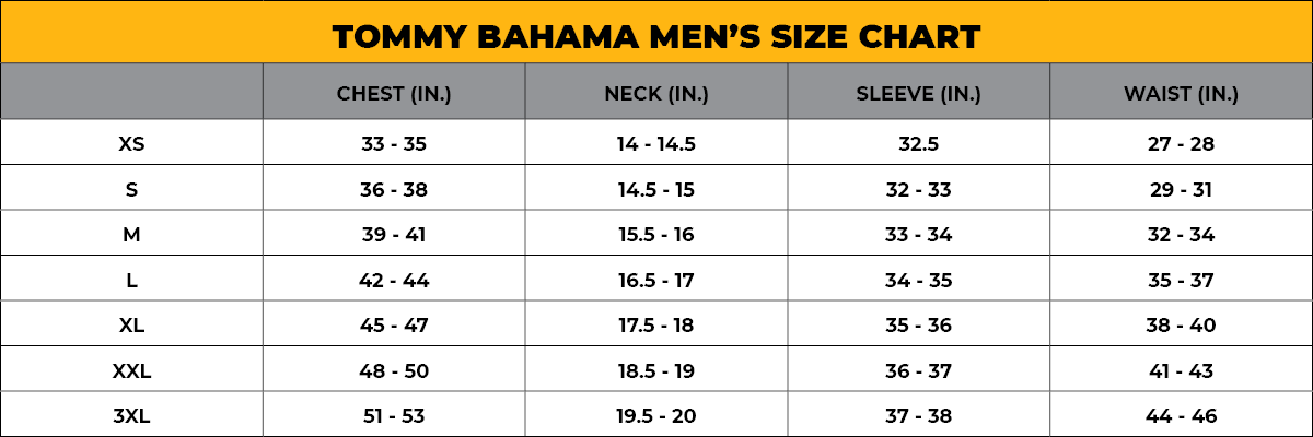 TOMMY BAHAMA Men's Size Chart