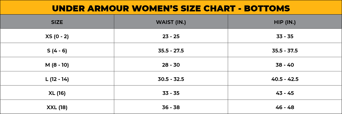 UNDER ARMOUR Women's Size Chart - Bottoms