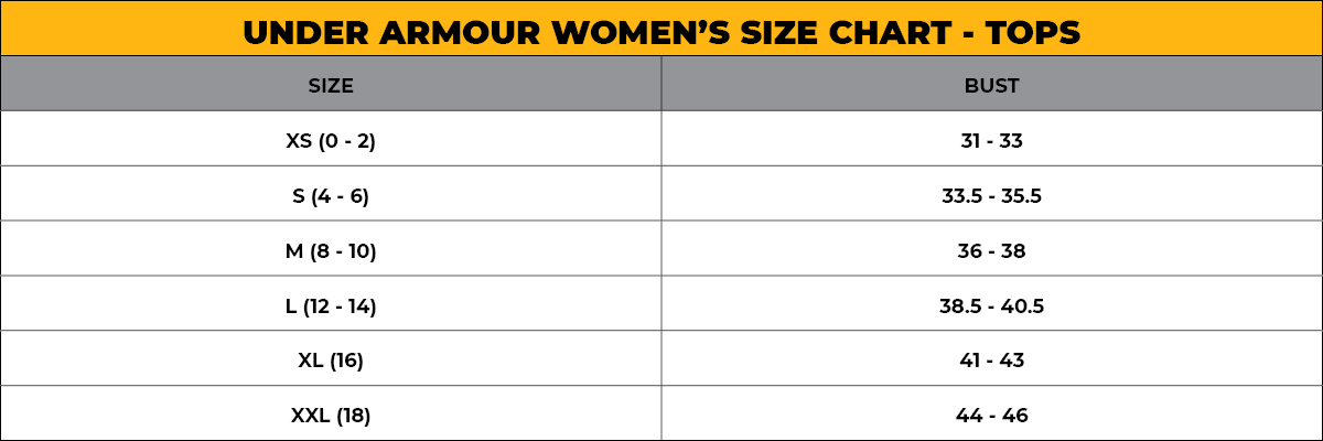 UNDER ARMOUR WOMEN'S SIZE CHART - TOPS